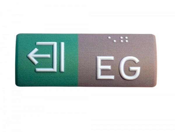 Handlaufschild aus Kunststoff, zweifarbig, Wunschtext